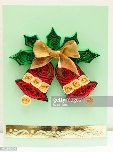 Quilling Mistletoe and Christmas bells card