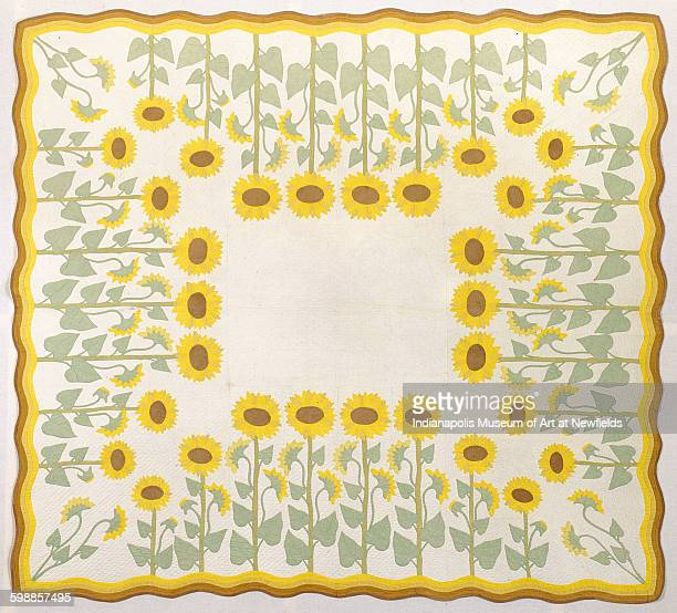 Quilt 'Sunflower' by American artist Marie D Webster 1911 Gift of Mrs Gerrish Thurber