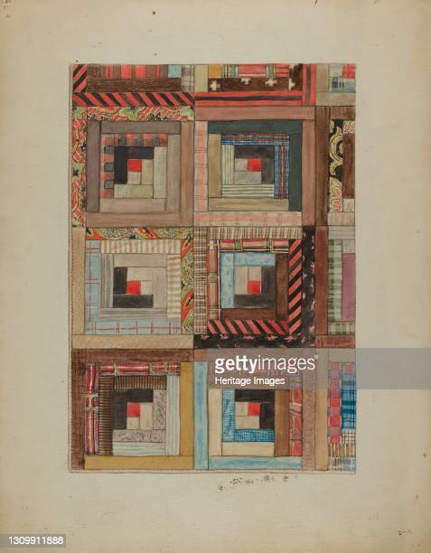 Quilted Pieces - Squares, 1935/1942. Artist Unknown. .