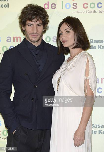 Quim Gutierrez and Emmanuelle Beart attend a photocall for 'Los Ojos Amarillos de los Cocodrilos' at the Santo Mauro Hotel on April 30 2014 in Madrid...