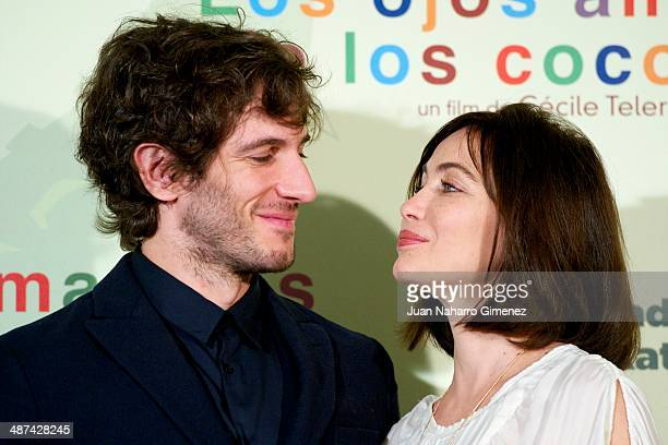 Quim Gutierrez and Emmanuelle Beart attend 'Los Ojos Amarillos de los Cocodrilos' photocall at Santo Mauro Hotel on April 30 2014 in Madrid Spain