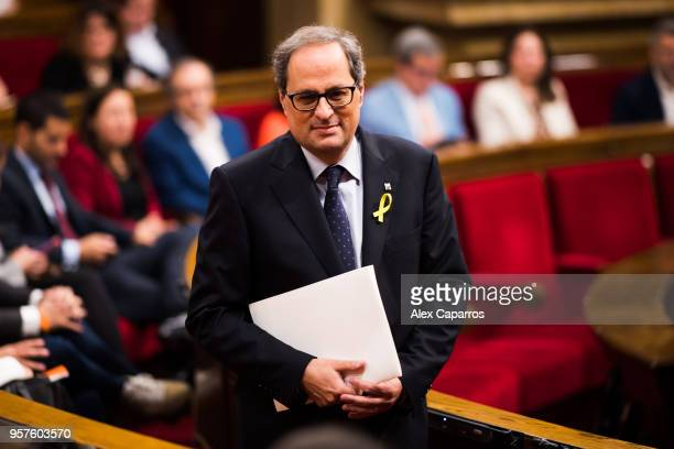 Quim Torra enters the chamber before the parliamentary session debating on his investiture as the new President of Catalonia at Parliament of...