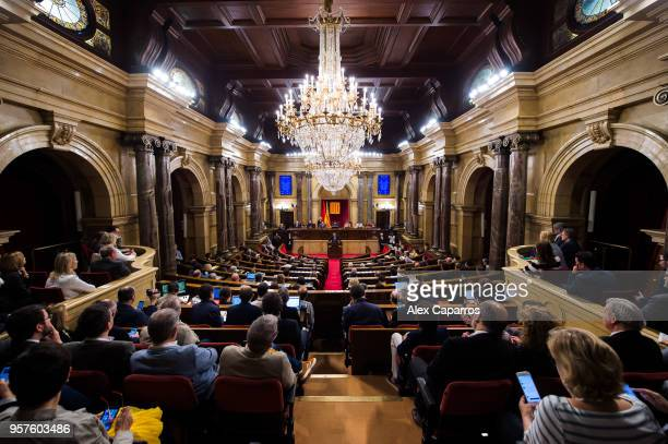 Quim Torra gives his speech during the parliamentary session debating on his investiture as the new President of Catalonia at Parliament of Catalonia...
