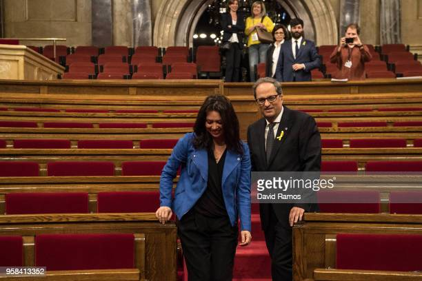 Quim Torra shake hands with Marcela Topor wife of Carles Puigdemont former President of Catalonia after being elected the new President of Catalonia...