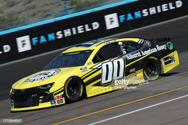 Quin Houff, driver of the Mount-N-Lock/Ashurst Honey Chevrolet, practices during practice for the NASCAR Cup Series FanShield 500 at Phoenix Raceway...