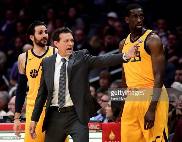 Quin Snyder of the Utah Jazz calls out to the bench in front of Ricky Rubio and Ekpe Udoh during the first half against the LA Clippers at Staples...