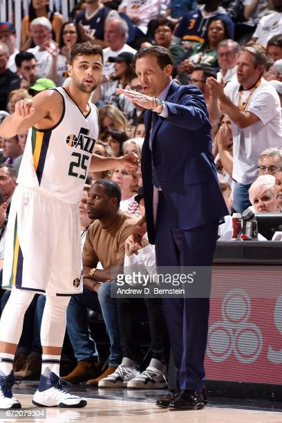 Quin Snyder of the Utah Jazz talks with Raul Neto of the Utah Jazz during the game against the LA Clippers in Game Four during the Western Conference...