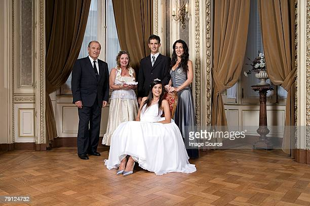 quinceanera girl and family - formalwear stock pictures, royalty-free photos & images