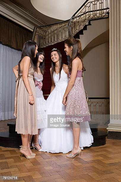 quinceanera with friends - prom dress stock pictures, royalty-free photos & images