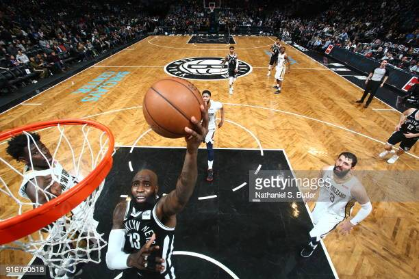 Quincy Acy of the Brooklyn Nets shoots the ball against the New Orleans Pelicans on February 10 2018 at Barclays Center in Brooklyn New York NOTE TO...