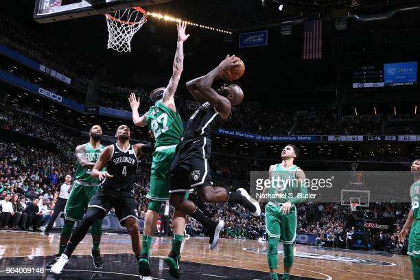 Quincy Acy of the Brooklyn Nets shoots the ball during the game against the against the Boston Celtics on January 6 2018 at Barclays Center in...
