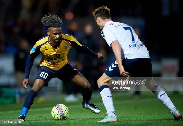 Quincy Antipas of Hobro IK and Jakob Ankersen of AGF Aarhus compete for the ball during the Danish Superliga match between Hobro IK and AGF Aarhus at...