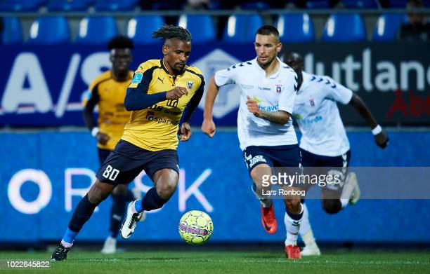 Quincy Antipas of Hobro IK controls the ball during the Danish Superliga match between Hobro IK and AGF Aarhus at DS Arena on August 24 2018 in Hobro...