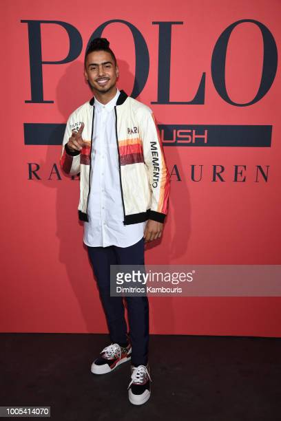 Quincy Brown attends the Polo Red Rush Launch Party with Ansel Elgort at Classic Car Club Manhattan on July 25 2018 in New York City