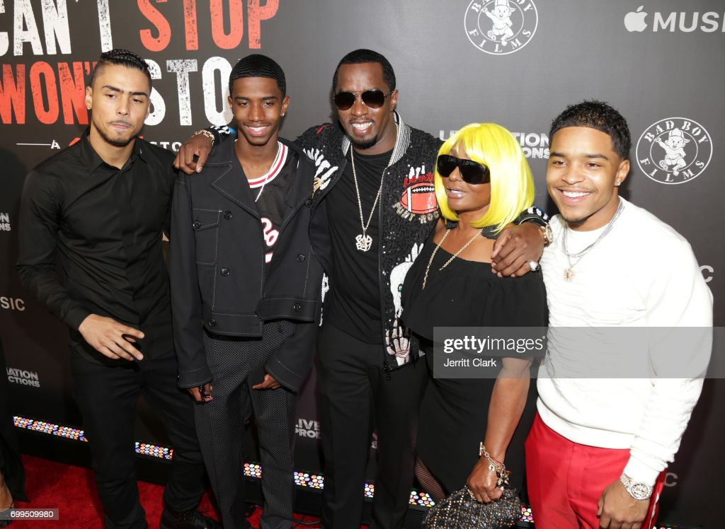 Quincy Brown, Christian Combs, Sean Combs, Janice Combs and Justin Combs attend the Los Angeles Premiere Of 'Can't Stop Won't Stop' at Writers Guild of America, West on June 21, 2017 in Los Angeles, California.