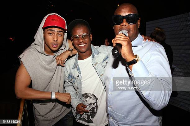 Quincy Brown Gianni Harrell and Andre Harrel attend the 8th Annual Remember The Time Michael Jackson Tribute at 1OAK on June 26 2016 in West...