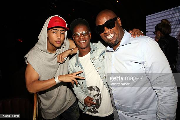 Quincy Brown Gianni Harrell and Andre Harrell attend the 8th Annual Remember The Time Michael Jackson Tribute at 1OAK on June 26 2016 in West...