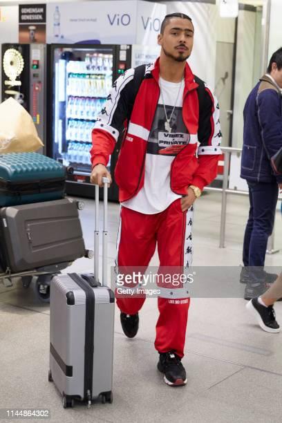 Quincy Brown is seen arriving at Berlin Tegel airport on April 23, 2019 in Berlin, Germany.