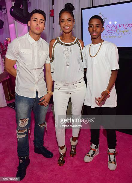 Quincy Brown Kim Porter and Christian Combs attend Reginae's All White Sweet 16 birthday party at Summerour Studio on November 29 2014 in Atlanta...