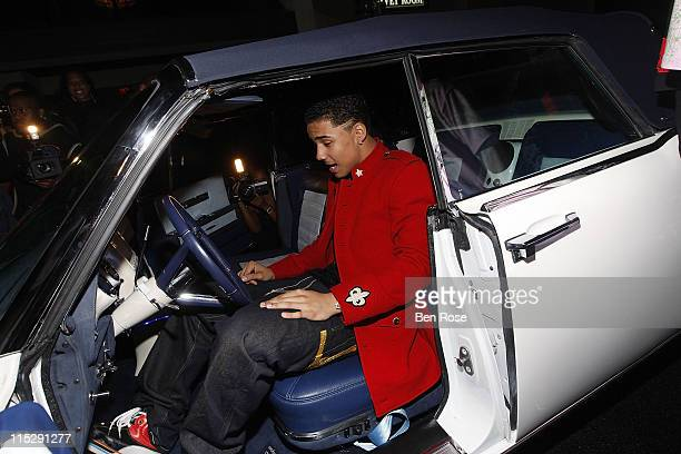 Quincy Brown poses with his 1964 Lincoln Continental presented to him at Quincy Brown's Stunna 16 Birthday Celebration Hosted by Parents Sean Diddy...