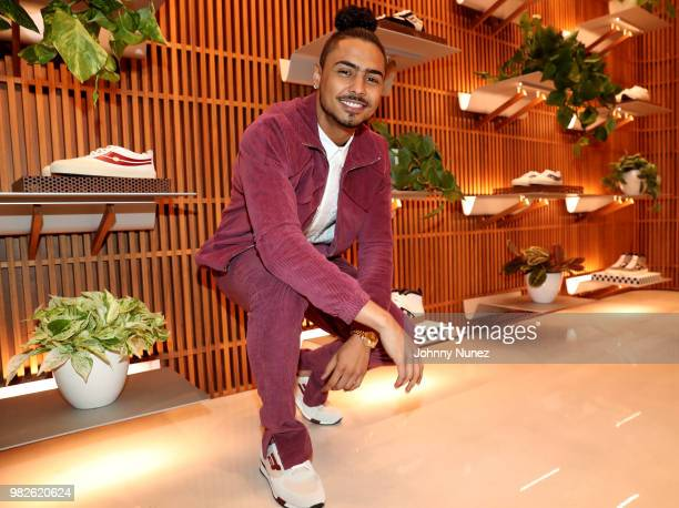 Quincy Brown wearing Bally attends Bally x Slick Rick's 30th anniversary of The Great Adventures of Slick Rick celebration at Bally Rodeo Dr on June...