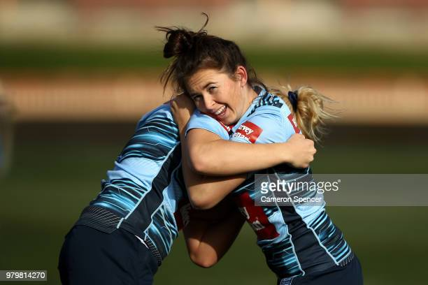 Quincy Dodd of the Blues performs a drill during the New South Wales women's State of Origin captain's run at North Sydney Oval on June 21 2018 in...