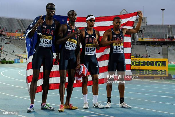 Quincy Downing, Chidi Okezie, Arman Hall and Quincy Downing celebrate after winning the Men's 400 metres Relay Final on day six of the 14th IAAF...