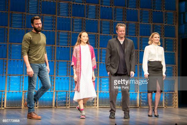 Quincy DunnBaker Sue Jean Kim Matthew Perry and Jennifer Morrison are seen on stage during the opening night curtain call of 'The End Of Longing' at...