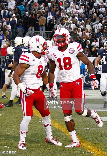 Quincy Enunwa of the Nebraska Cornhuskers celebrates after catching a 27 yard touchdown pass against the Penn State Nittany Lions during the game on...