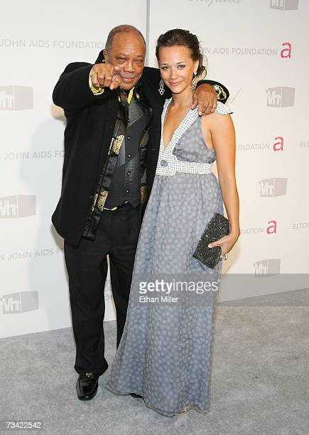 Quincy Jones and actress/daughter Rashida Jones arrive at the 15th Annual Elton John AIDS Foundation Academy Awards viewing party held at the Pacific...