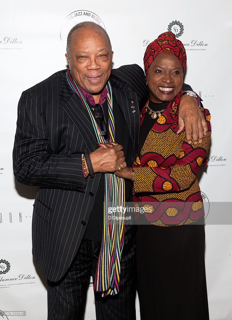 Quincy Jones (L) and Angelique Kidjo attend The Jazz Foundation Of America's 13th Annual 'A Great Night In Harlem' Gala Concert at The Apollo Theater on October 24, 2014 in New York City.