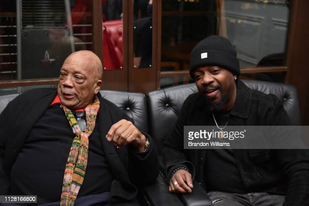 Quincy Jones and Anthony Hamilton attend the Haute Living celebration of Quincy Jones with RollsRoyce and LOUIS XIII at Mr C Beverly Hills on...