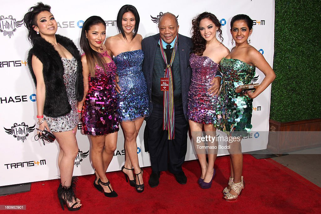 Quincy Jones (C) and Blush attend the 2nd Annual Will.i.am TRANS4M Boyle Heights benefit concert held at Avalon on February 7, 2013 in Hollywood, California.