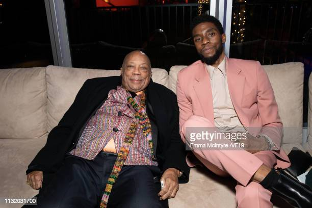 Quincy Jones and Chadwick Boseman attend the 2019 Vanity Fair Oscar Party hosted by Radhika Jones at Wallis Annenberg Center for the Performing Arts...