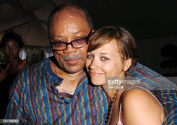 Quincy Jones and daughter Rashida Jones during The Coach Luncheon to Benefit Peace Games at the Home of Quincy Jones at Quincy Jones' House in...