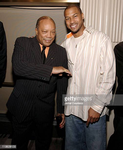 Quincy Jones and Finesse Mitchell during Quincy Jones Hosts Celebrity Poker Tournament to Benefit the Q Foundation and the Angkor Hospital for...