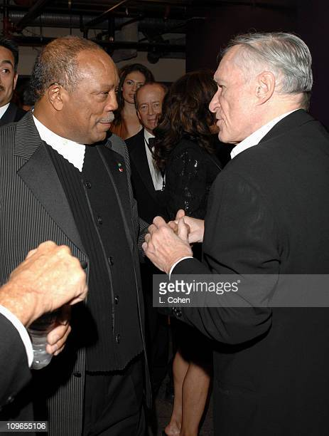 Quincy Jones and Hugh Hefner during Singers and Songs Celebrate Tony Bennett's 80th to Benefit Paul Newman's Hole in the Wall Camps Backstage and...