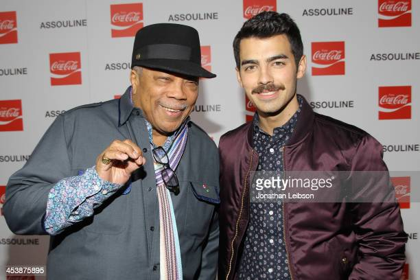 Quincy Jones and Joe Jonas attend the Assouline And CocaCola Celebrate The Launch Of The Assouline Memoire Set CocaCola Film Music Sports At Siren...
