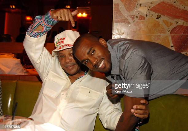 Quincy Jones and Kanye West during Stevie Wonder Celebrates His 57th Birthday at the Grand Opening of The Cove Atlantis Resort on Paradise Island...