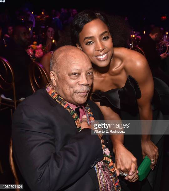 Quincy Jones and Kelly Rowland attend Spotify's Secret Genius Awards Hosted By NEYO at The Theatre at Ace Hotel on November 16 2018 in Los Angeles...