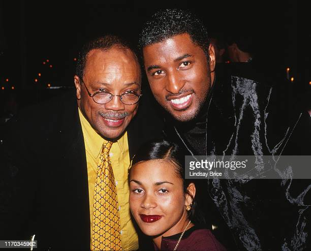 """Quincy Jones and Kenneth """"Babyface"""" Edmonds with Kidada Jones at the ACLU Bill of Rights Dinner honoring Edmonds for expanding opportunities for..."""