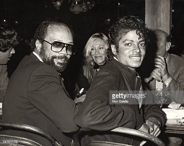 Quincy Jones and Michael Jackson at the Whomphopper's Restaurant in Los Angeles California