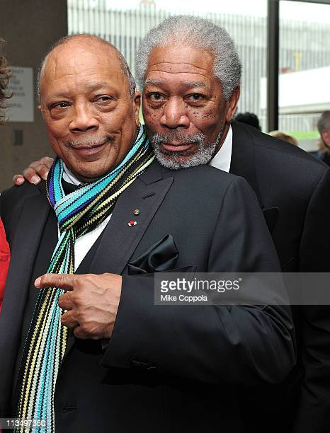 Quincy Jones and Morgan Freeman attend The Film Society of Lincoln Center's presentation of the 38th Annual Chaplin Award at Alice Tully Hall on May...