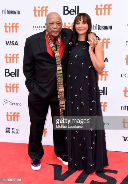 Quincy Jones and Rashida Jones attend the Quincy premiere during 2018 Toronto International Film Festival at Princess of Wales Theatre on September 9...