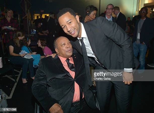 Quincy Jones and singer John Legend attend a celebration of Carole King and her music to benefit Paul Newman's The Painted Turtle Camp at the Dolby...