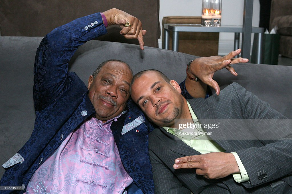 Quincy Jones and son Quincy Jones III during Dom Perignon Celebration for Forest Whitaker - February 27, 2007 at Boulevard3 in Hollywood, California, United States.