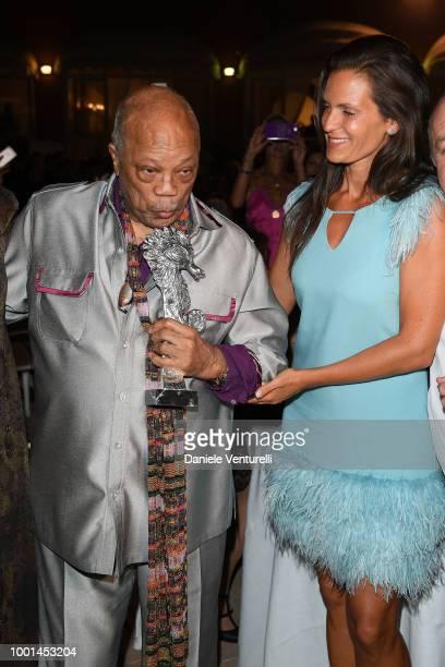 Quincy Jones and Veronica Berti attend 2018 Ischia Global Film Music Fest on July 18 2018 in Ischia Italy