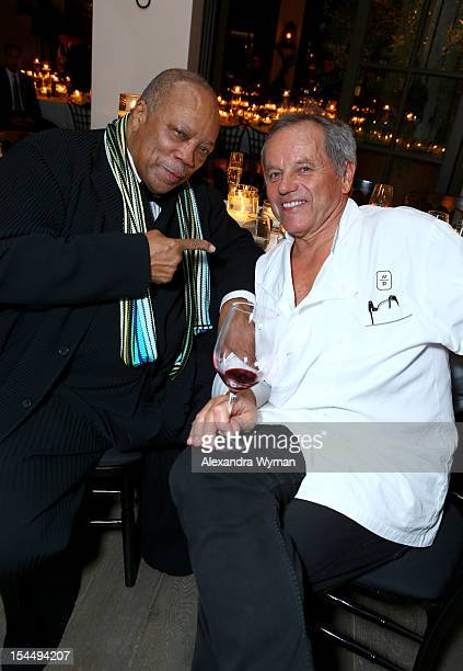 Quincy Jones and Wolfgang Puck attend Gelila Puck's Surprise Birthday Dinner at Spago Beverly Hills on October 20 2012 in Beverly Hills California