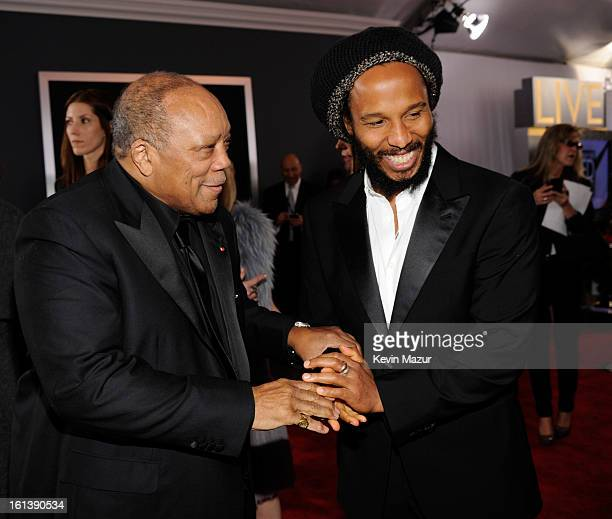 Quincy Jones and Ziggy Marley attend the 55th Annual GRAMMY Awards at STAPLES Center on February 10 2013 in Los Angeles California