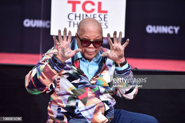 Quincy Jones attends Quincy Jones' Hand And Footprint ceremony at The TCL Chinese Theatre IMAX on November 27 2018 in Hollywood California